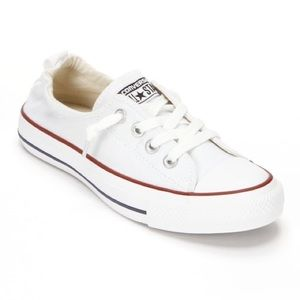 White Converse Slip Ons size 10